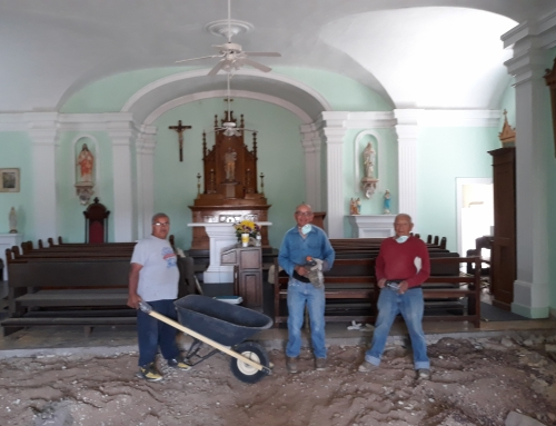 Knight working on St Joseph Church