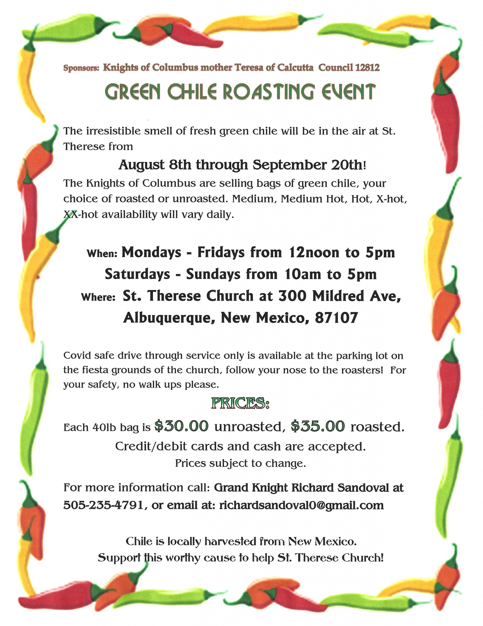 Green Chile Roasting Event August 8th through September 20th